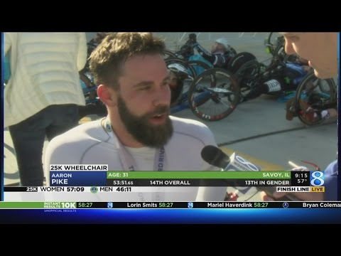 Aaron Pike wins 25K River Bank Run wheelchair race for third straight year