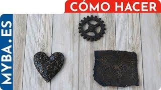 Cómo hacer imitación cuero o bronce. | Falsos acabados. | Técnica 3 pasos en papel, yeso y madera.