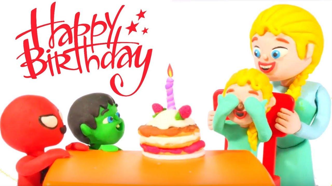 BABY ELSA SURPRISE BIRTHDAY CAKE ❤ Spiderman, Hulk & Frozen Play Doh Cartoons For Kids