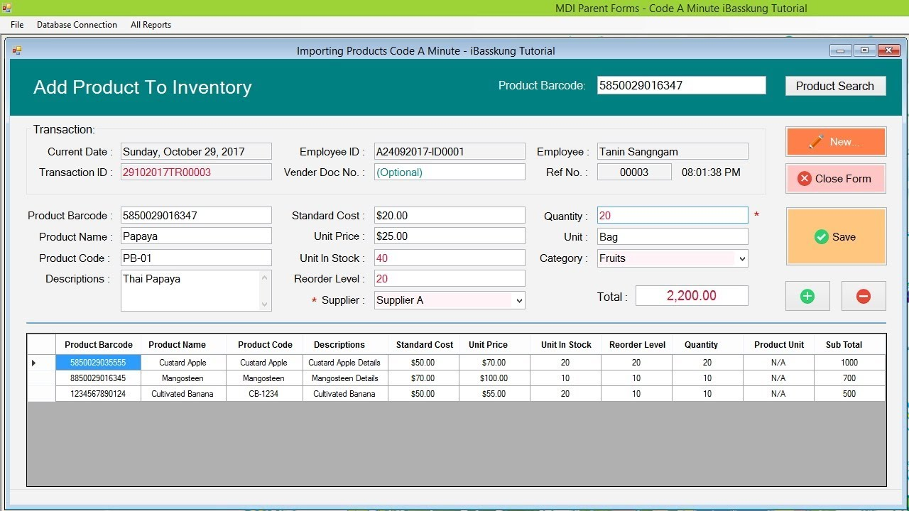 VB Net Inventory Management System - Adding Products to Inventory (demo by  iBasskung)