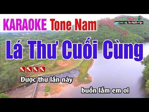 Lá Thư Cuối Cùng Karaoke | Tone Nam - Nhạc Sống Thanh Ngân