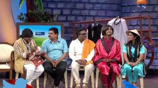 kushal badrike as repoter ask question to abhijit in chala hawa yeu dya