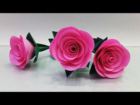 Realistic Paper Roses Tutorial Step by Step - DIY Paper Flowers