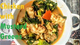 CHICKEN WITH MUSTARD GREENS  lai xaak chicken recipe  assamese chicken recipe  chicken with saag