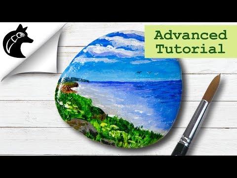 Rock Painting Tutorial Landscape Seascape Beach thumbnail