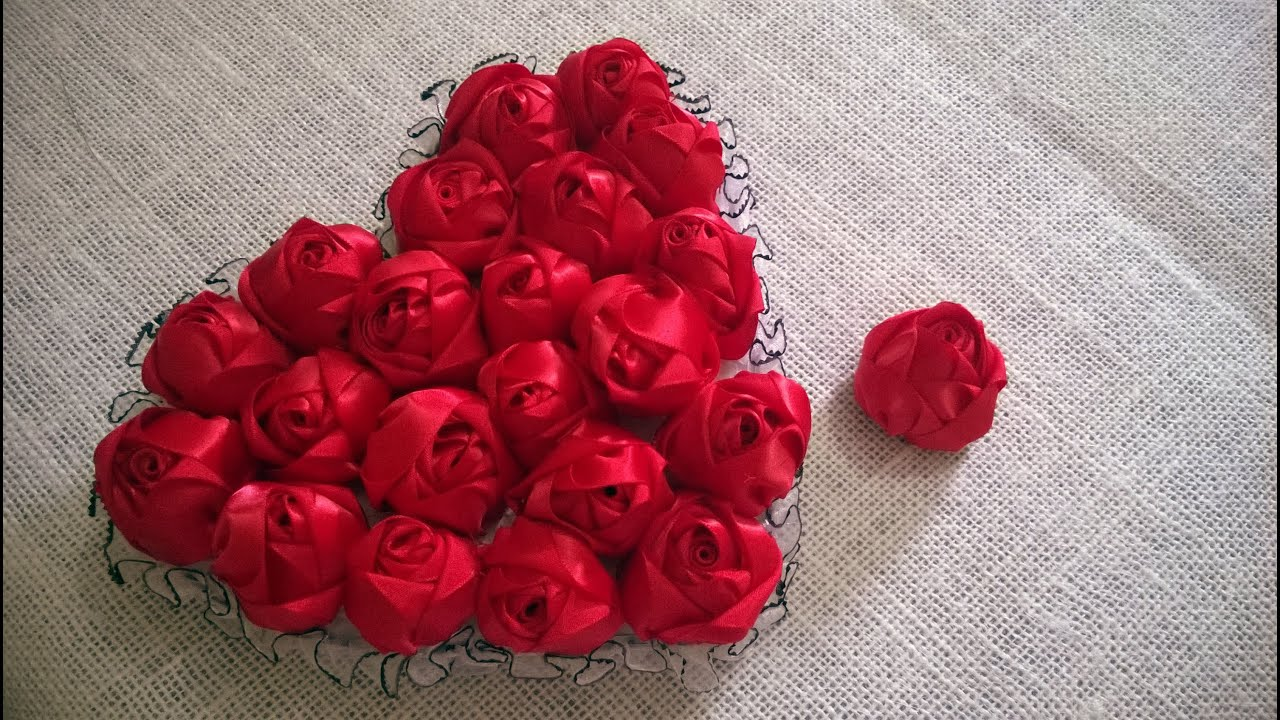 D I Y Satin Rose Tutorial Valentine S Day Heart