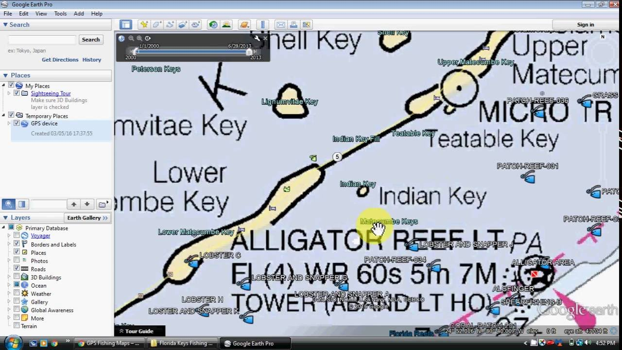 Florida keys fishing map and fishing spots youtube for Best fishing spots in the keys