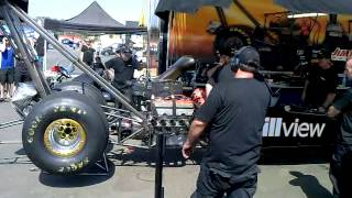 Top Fuel warm up and idle. Loud one!