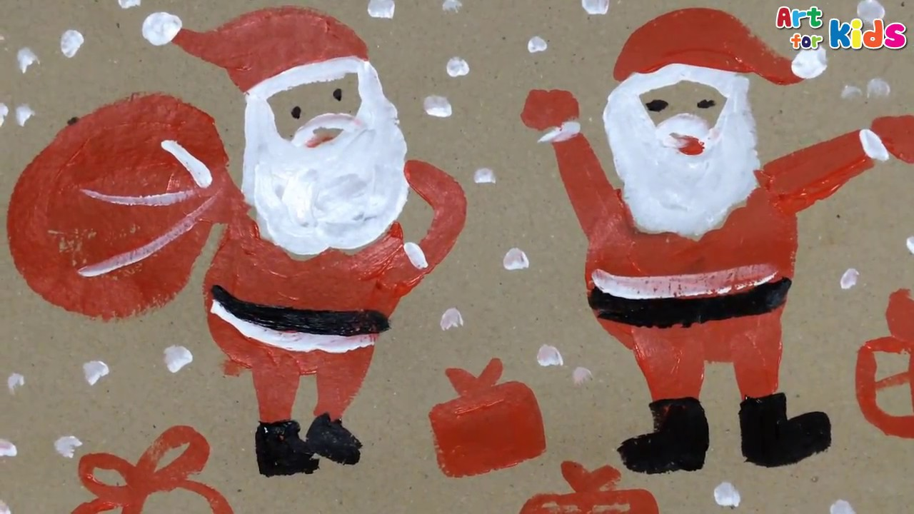 painting christmas for kids how to draw santa claus for kids 3 art for kids youtube - Santa Pictures For Kids