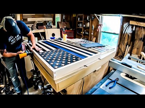 DIY Solid Oak Flag Build , India Ink stained wood