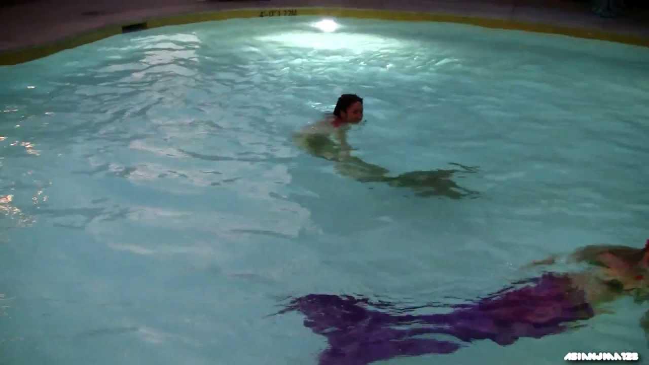Real Life Mermaids Swimming At Disneyland New Hotel Pool Hd Youtube