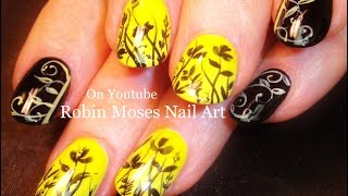 Flower Nail Art! Hot Black And Yellow Nails Diy Design Tutorial