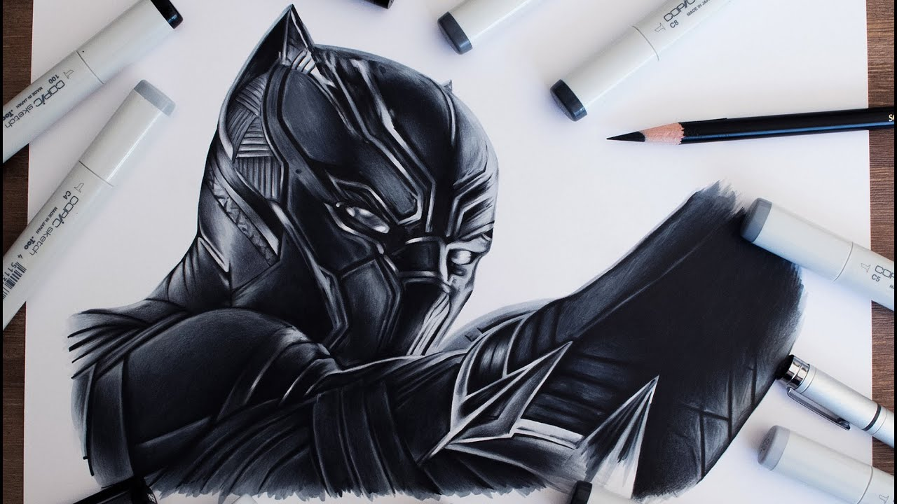 black panther drawing captain america civil war youtube