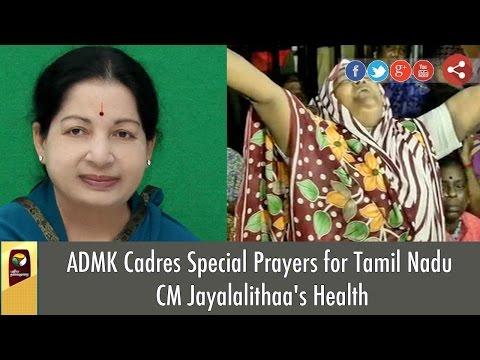 ADMK Cadres hold Special Prayers for Tamil Nadu CM Jayalalithaa's Health