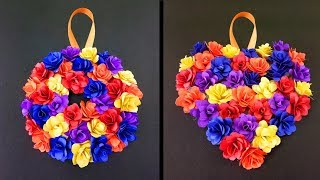 How to make beautiful wall hanging paper flowers | Very Easy DIY Crafts