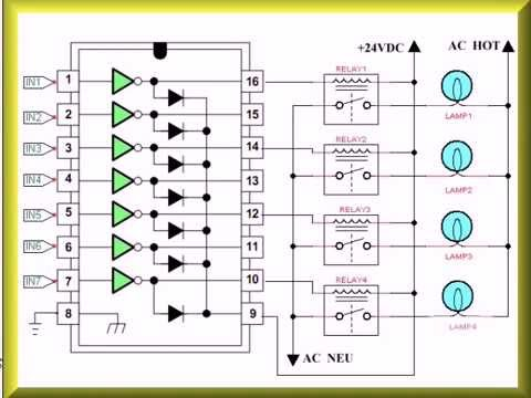 Transistor Wiring Diagram 12v Cigarette Lighter Socket Using The Uln2003a Array With Arduino - Youtube
