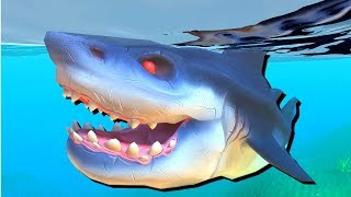 Giant Megalodon Shark vs Great White! - Feed and Grow Fish Gameplay