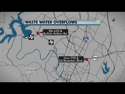 Austin Water in the process of cleaning two waste water overflows