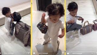 Kim Kardashian 1yr Old Daughter Steals Her Bags & Heels