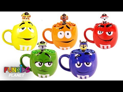 Learn Colors Videos for Kids: Paw Patrol Skye and Chase M&M's Colorful Cup & Mugs