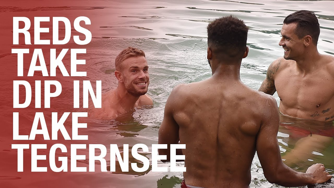 'It's freezing!' | Liverpool FC players jump into in German lake after training
