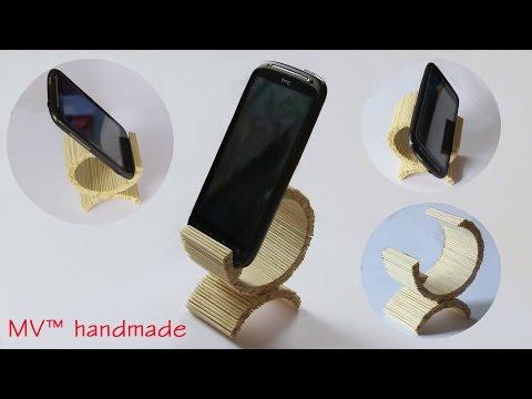 Hướng dẫn làm đế điện thoại từ tăm tre (How to make a stand for mobile phones)