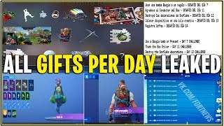 *NEW* ALL 14 DAYS OF FORTNITE GIFTS PER DAY LEAKED! *Challenges + What gift On what Day*