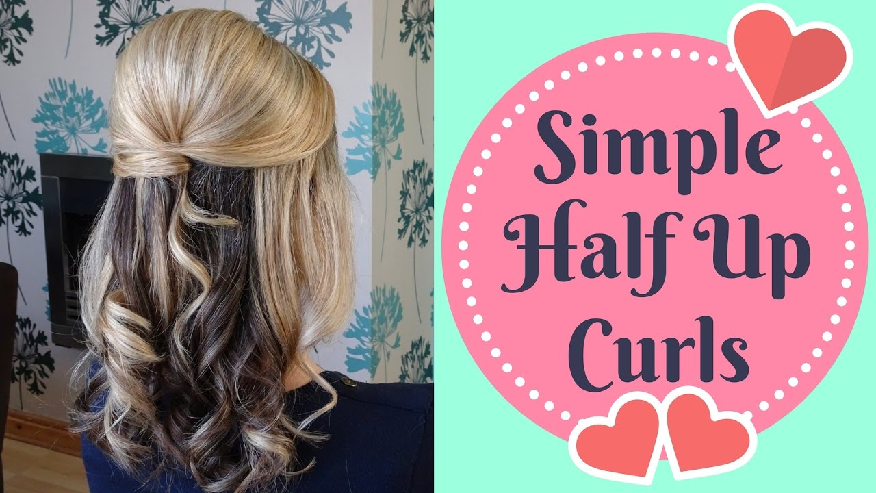 Quick Half up Half Down curly updo - prom, wedding hairstyle - YouTube