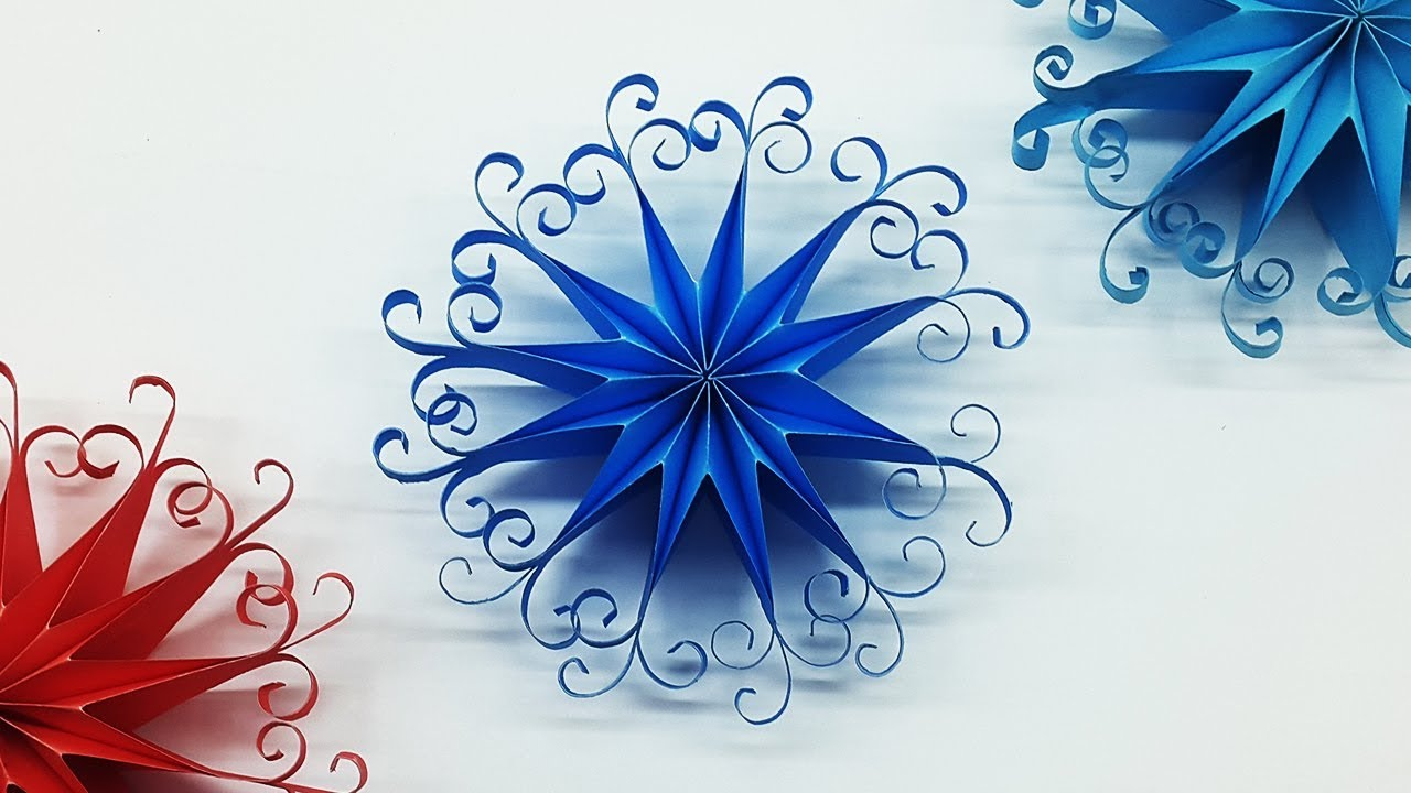 Diy 3d Quilling Paper Snowflakes Christmas Tree Ornaments Youtube