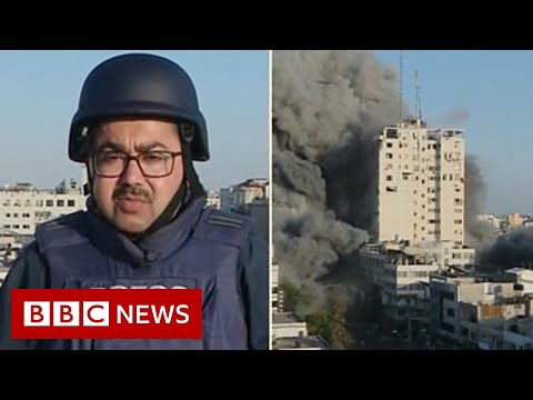 Israel-Gaza: Strike collapses building during live BBC report - BBC News