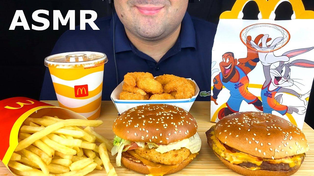 ASMR McDonald's Space Jam 2 | Eating Cheese Burger, Chicken Sandwich, French Fries & Shrimp Mukbang