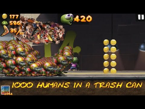 Zombie Tsunami: Bonus 1000 Humans In A Trash Can What Will Happen? |