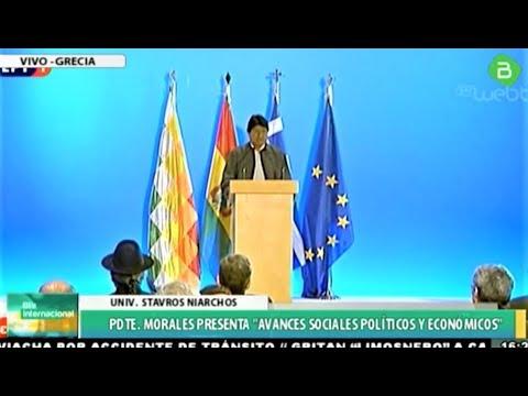 Evo Morales En Atenas Grecia Conferencia En El Centro Cultural Stavros Niarchos