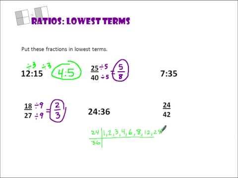 Ratios Lowest Terms Pt 2