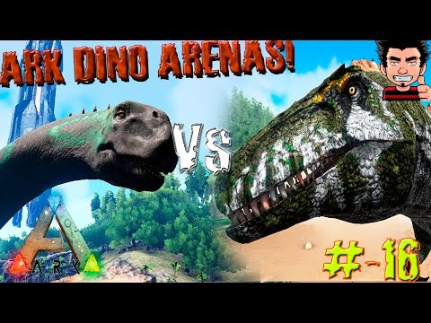 ARK Survival Evolved Camarasaurus Vs Acrocanthosaurus batalla dinosaurios gameplay español