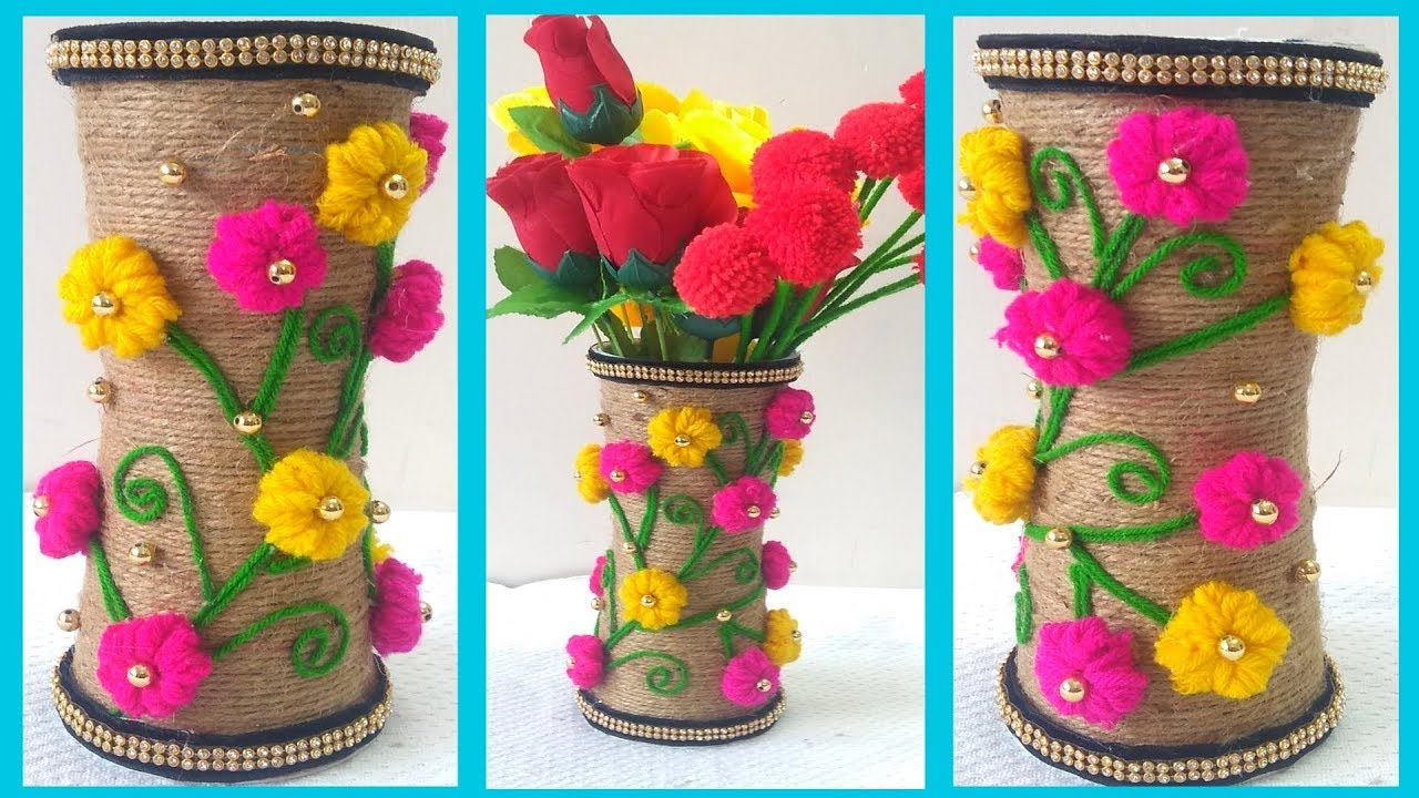 Diy Jute Flower Pot Plastic Glass Jute Craft Flower Vase Flower