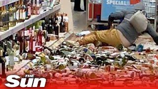 Aldi wrecking rampage - Woman smashes 500 bottles of booze