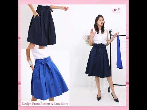 Deslyn Front Button A-Line Skirt