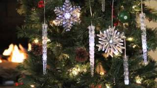 Set of 3 LED Snowflake & Icicle Tree Ornaments, Batteries Included For 40+ Nights of Light!