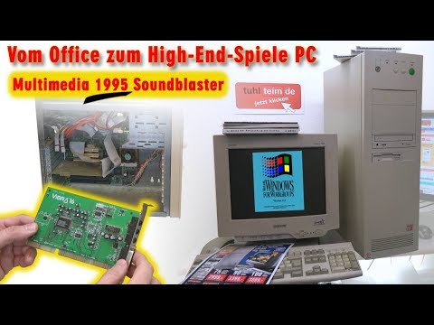 Vom Office zum High-End-Spiele-PC 1995 - DOS + Windows 3.1 Multimedia Soundblaster Gaming-PC - [4K]