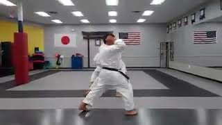 Training at dojo , kicks , elbow and punch