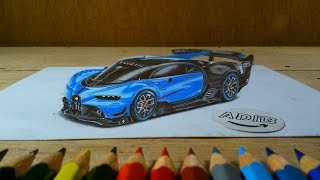 How to draw Bugatti Vision in 3D Gran Turismo Sport - Time Lapse - 3D Drawing