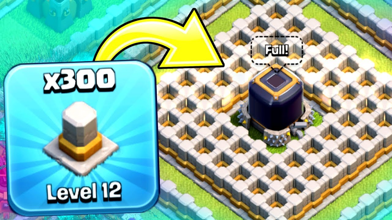 """WORLDS FIRST """"300 LEVEL 12 WALL BARRIER!"""" 🔥 Clash Of Clans"""