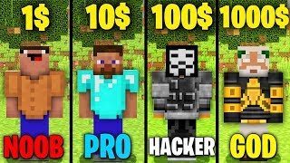 Minecraft Battle: NOOB vs PRO vs HACKER vs GOD : FROM 1$ TO 1000$ ARMOR Challenge in Minecraft