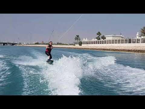 Wake boarding jump practice. Doha Qatar.
