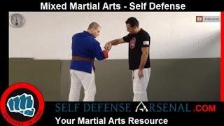 selfdefense VS Tagai Katate Dori : knuckles push (saisie poignet croisé)(FR007 1D)