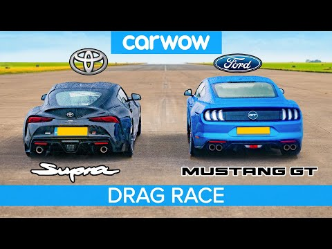 Toyota Supra v Ford Mustang V8 – DRAG RACE, ROLLING RACE \u0026 BRAKE TEST