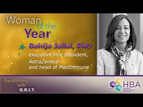 2017 HBA Woman of the Year Bahija Jallal PhD, MedImmune, including intro by Pascal Soriot