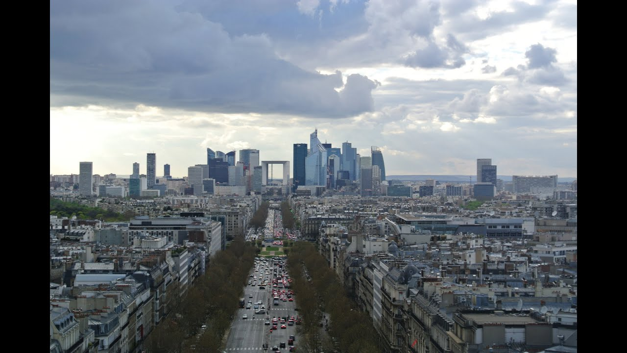Paris skyline view on top of arc de triomphe in paris france la paris skyline view on top of arc de triomphe in paris france la defense sacre coeur sky view hd youtube voltagebd Choice Image