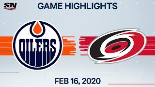 NHL Highlights | Oilers vs Hurricanes - Feb. 16, 2020